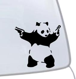 PANDA WITH GUNS Vinyl Decal Sticker Car Window Wall Bumper M