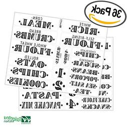 Pantry Labels - 36 Preprinted Kitchen Labels Sticker Set by