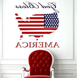Patriotic Wall Decal God Bless America United States Map