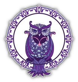 Patterned Owl Label Animal Car Bumper Sticker Decal 5'' x 5'
