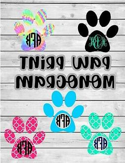 Paw Print Vinyl Decal Monogram Sticker for Car Laptop Tumble