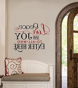 Peace Love Joy To All Who Enter Here Vinyl Decal Wall Sticke