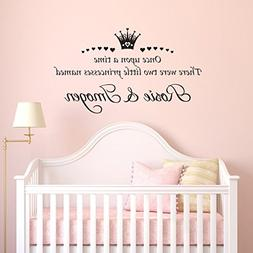 Personalised Name Twins Princess Sisters Vinyl Wall Sticker