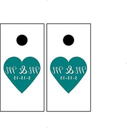 Personalized Initials Wedding Corn hole Board Heart Decal en
