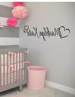 PERSONALIZED NAME HEARTS GIRLS  Vinyl Wall Art Decal Kids Ch