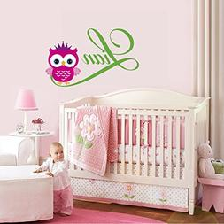 Personalized Name Owl Nursery - Baby Girl Decoration - Mural