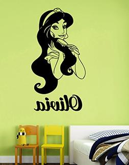 Personalized Name Princess Jasmine Wall Decal Custom Removab