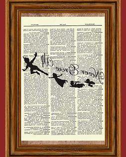 peter pan dictionary art print poster picture