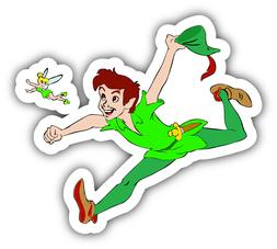 Peter Pan Tinkerbell Running Cartoon Car Bumper Sticker Deca