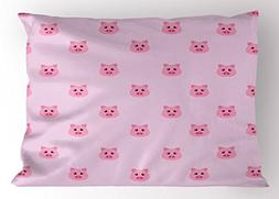 Ambesonne Pig Pillow Sham, Pig Avatar Kid-Friendly Clip Art