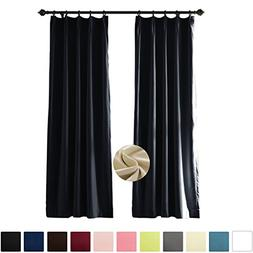 Pinch Pleated 120W x 84L Inch Black Velvet Thermal Insulated
