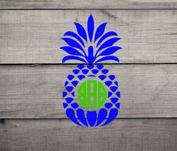 pineapple with monogram vinyl decal for car