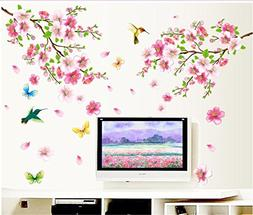 BIBITIME Pink 2 Branches Cherry Blossoms Trees Wall Decals S