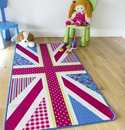 Pink Blue Union Jack Area Rugs Easy Clean Rubber Backed Flag