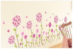 Kappier Beautiful Pink Flowers with Butterflies Peel & Stick