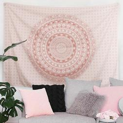 Pink Mandala Tapestry Wall Hanging Art Floral Patterned Tape