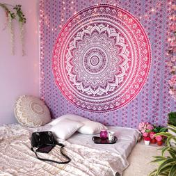 Pink Ombre Mandala Tapestry Wall Art Hangings Hippie Tapestr