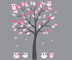 Pink Owl Wall Decal, Baby Nursery or Girl's Room, Gray Pink