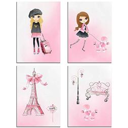 Pink Paris Art Prints - Girl's Bedroom Wall Decor Photos - S