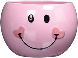 Pink Smiley Happy Face Candy Dish/Planter with Heart