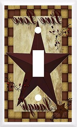 PRIMITIVE BARN STAR LIVE LOVE LAUGH LIGHT SWITCH COVER PLATE
