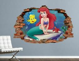 Princess Ariel Disney Wall Decal Decor Kids Smashed 3D Stick