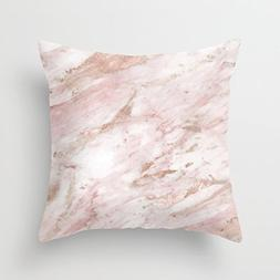 UOOPOO Print Pink Marble - Rose Gold Accents Throw Pillow Ca