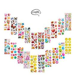 Teenitor Puffy Stickers, 20 Different Sheets Bezgar 3D For K
