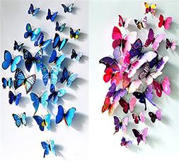 24pcs Purple&blue 3d Butterfly Stickers, Wall Stickers Craft