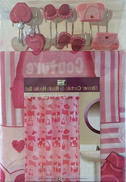 Purse, Glam, Pink - Bathroom Set - Shower Curtain and Resin