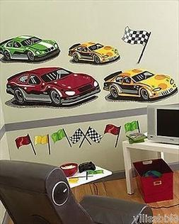 Raceway Wallies Big Mural Race Car Speedway Wallpaper Decals
