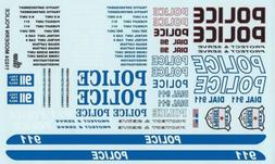 GOFER RACING MODERN POLICE CAR DECAL SET FOR 1:24 AND 1:25 S