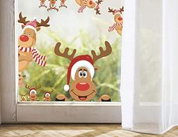 MozamyCreative Reindeer Decals Christmas Wall Decals Rudolph
