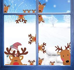 Easma Reindeer Window Decals 13pcs Christmas Rudolph Decals