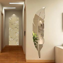 Removable 3D DIY Feather Mirror Wall Stickers Decal Art Viny