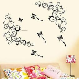 Removable Butterfly and Vine Wall Stickers DIY Vinyl Decal A