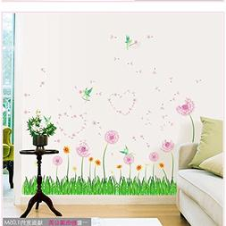 Amaonm Removable Pink Dandelions Love Heart Shape Wall Decal