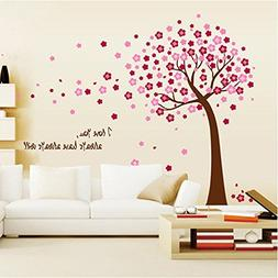 Amaonm Removable PVC Pink Cherry Blossom Tree & Flowers Wall