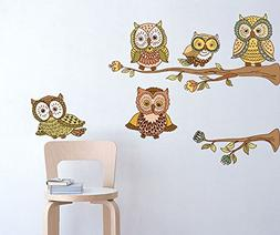 Amaonm® Removable Vinyl DIY Owl Family On the Tree Branches