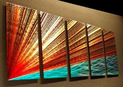River's Edge - 64 inch x 24 inch Abstract Painting Metal Wal