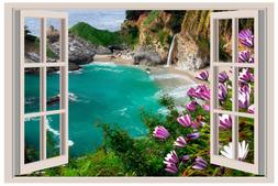 Rocky Cliff Waterfall 3D Window View Decal Graphic WALL ART