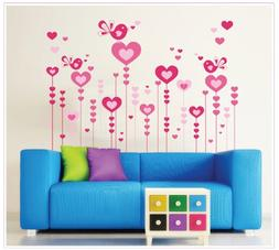 Kappier Romantic Pink Heart-shaped Flowers and Singing Birds