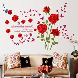 Transer Fashion Rose Flower Removable PVC Wall Sticker Home