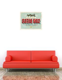 San Diego City California USA Vintage Label Home Wall Decal