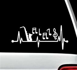 Sax Saxophone Musical Notes Heartbeat Lifeline Decal Sticker
