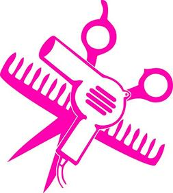 """SCISSORS AND COMB AND HAIR DRYER 5"""" TALL DECAL HOT PINK - ma"""