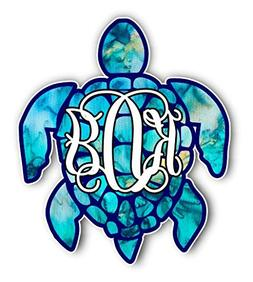 Sea Turtle Monogram Initials Vinyl Decal Bumper Sticker for