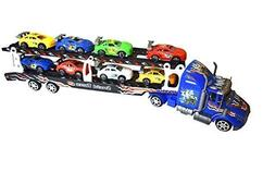 Semi Truck Toy With Trailer Towing 8 Cars, Friction Powered