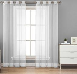 HLC.ME 2 Piece Sheer Voile Window Curtain Grommet Panels for