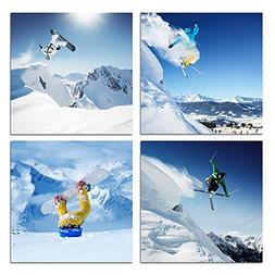 Live Art Decor - Ski Sport Canvas Wall Art,Snow Mountain Lan